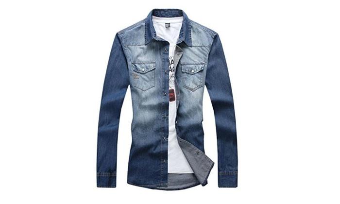 New Fashion 2016 Men Casual Long Sleeved Slim Denim Shirt