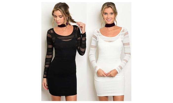Long sleeve mesh upper bodycon mini Dress