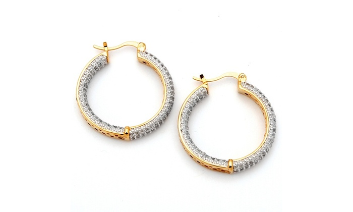 6 Tcw Cubic Zirconia 14k Gold Plated Inside Out Hoop