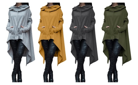 Women's Solid Color Long Style Loose Pullover Hoodies Plus Size c8e2a7c4-762b-4462-9f5d-f5b759cd583b