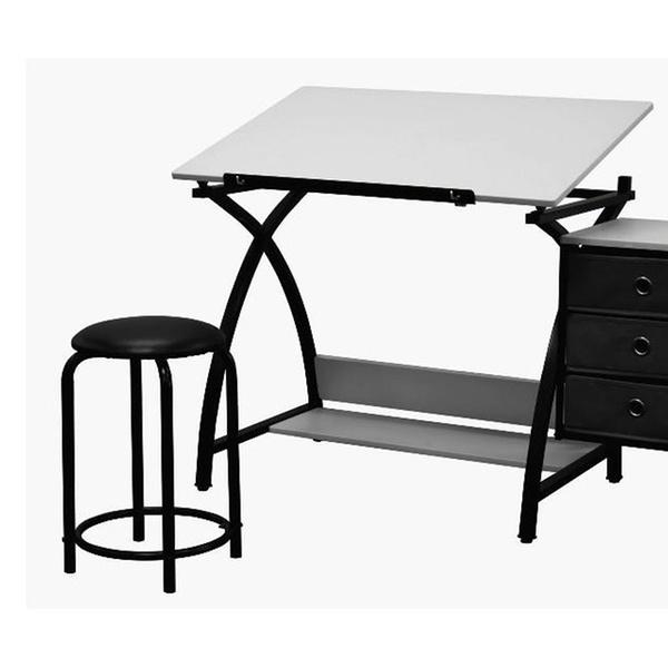 Astonishing Studio Comet Center With Stool Black White Bralicious Painted Fabric Chair Ideas Braliciousco