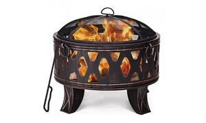 """28"""" Outdoor Fire Pit BBQ Portable Camping Firepit Heater Patio Garden"""