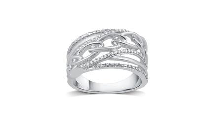 1/10 CTTW Diamond Interlocking Wedding Band in Sterling Silver by DeCarat