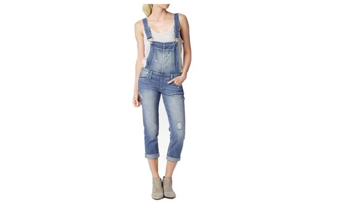 Women's Destroyed  Bib Denim Jeans Overalls