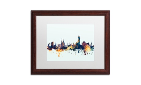 Michael Tompsett 'Barcelona Spain Skyline Blue' Wood Framed Art 31b9c2dc-1fde-4398-b506-4027ccf5b515
