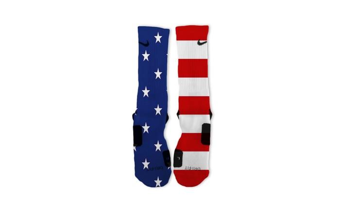 Custom All American USA Flag Patriotic Nike Elite Socks