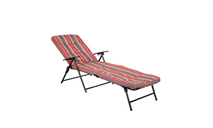 Superb Red White Stripe Folding Lounger Patio Chaise Cushions Pool Recline ...
