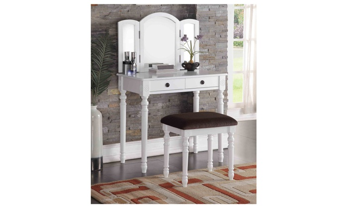 Modern Vanity Set With Mirror Cushioned Bench White Or