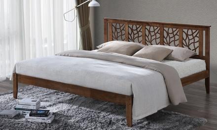 Trina Contemporary Tree-Branch-Inspired Platform Bed with Walnut Finish
