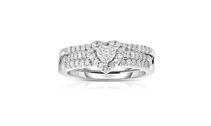 Groupon Goods 1 2 Cttw Diamond Heart Engagement Ring Set In 10KWG