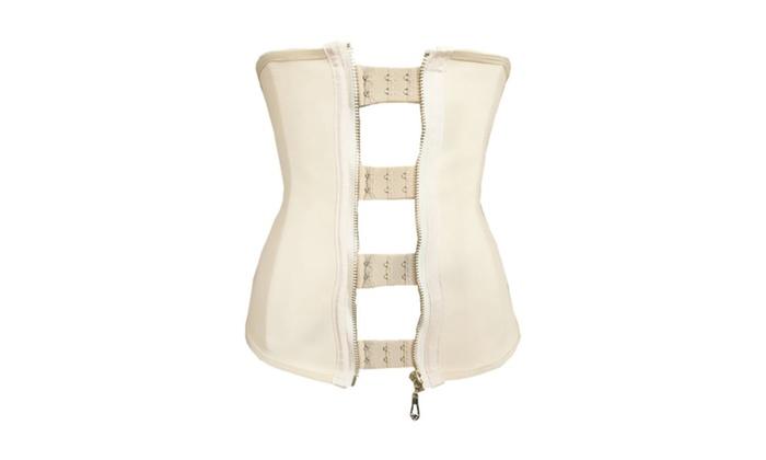Women's Lingerie 9 Steel Bones Zipper Hooks Beige Rubber Waist Trainer