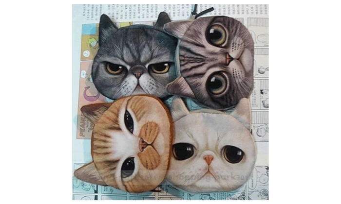 Cute Cat Face Zipper Case Coin/Wallet Makeup Bag