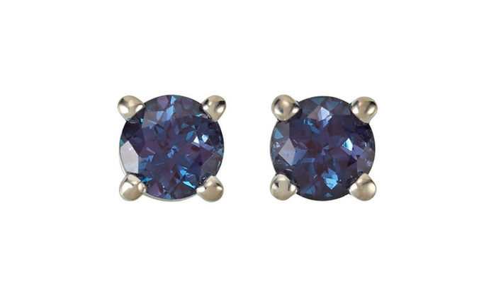created in earrings stud gold round alexandrite white