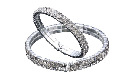Double Tier Open-Ended Swarovski Elements Bangle