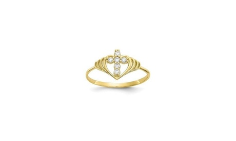 18K Gold Crystal Cross Heart Ring Made With Crystals From Swarovski