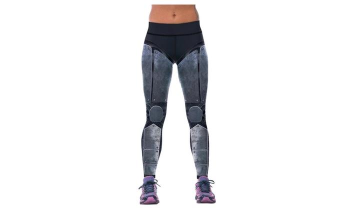 Women's Mechanical 3D Printing Four-Pin Six-Line Sewing Yoga Pants