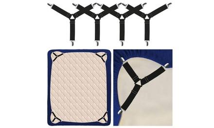 4pcs Triangle Bed Sheet Mattress Holder Fastener Grippers Clips Straps Suspender