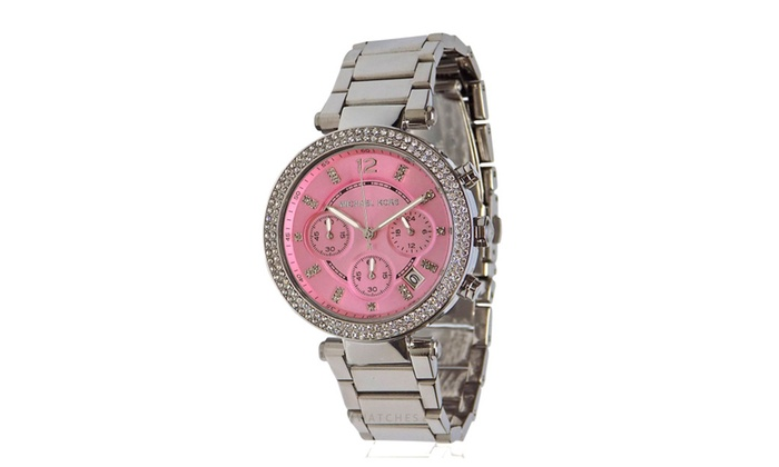 368acdc46d15 Michael Kors Womens Silver Tone Pink Face Parker 39mm Watch MK6105 ...