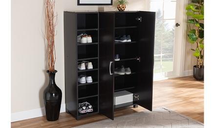 Marine Wenge Dark Brown 2-Door Wood Entryway Shoe Storage Cabinet