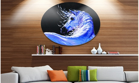Blue Horse Acrylic Art' Ultra Vibrant Abstract Metal Circle Wall Art 5de2698e-bd74-4e39-b2fd-4b10126d1e0d