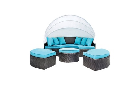 Furniture of America Luna Patio Canopy Daybed, Turquoise 2c0e8177-a35d-4e14-8ba4-415b3763d1b3