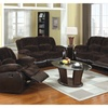 Tirana 3 Pieces Sofa Set In Brown Champion Fabric And Leatherette