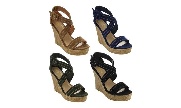 IE53 Women Stitched Criss Cross Strap Espadrille Platform Wedge Sandal