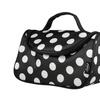 Zodaca Black White Dots Travel Organizer Bag Makeup Case w Mirror