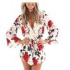 Women Fashion Deep V Neck Drawstring Chiffon Floral Jumpsuit Romper