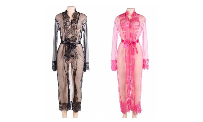 Plus Size Black Delicate Lace Long Sleepwear Gown | Groupon