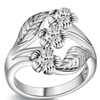 Curved High Quality Leaf Silver Plated Ring for Women (7)