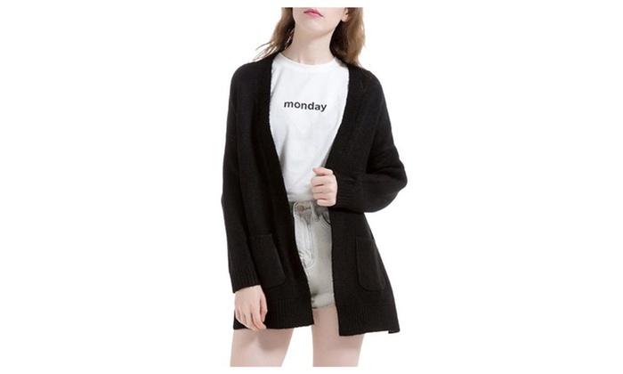 Women's Straight Hem Open Front Loose Fit Simple Cardigan