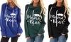 Women Fall Street Long Sleeve Mama Bear Elbow Patch Hooded Fashion Tunic