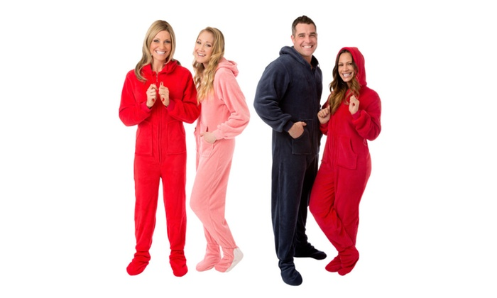 7c22420d8c Hoodie Footed Plush Onesie Unisex Loungewear Pajama for Men and Women