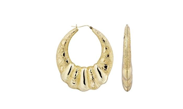 a2e26cf355b3b 10K Gold Shrimp Diamond Cut Hoop Earrings Diameter 2 Inches | Groupon