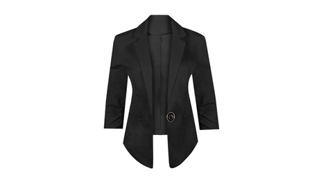 Classic Pointed Collar 3/4 Sleeve Stretchy Blazer Jacket b5c7854e-fc73-4361-8754-0d9ecc5ebcaa