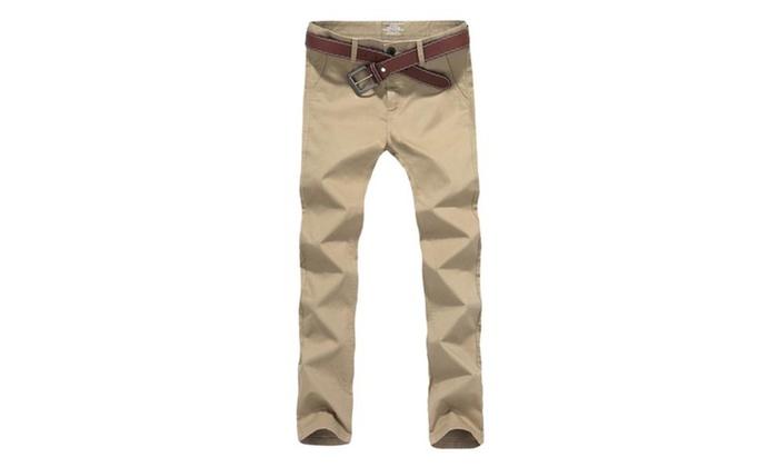 Men's Flat-Front Straight Leg Cotton Casual Dress Pants