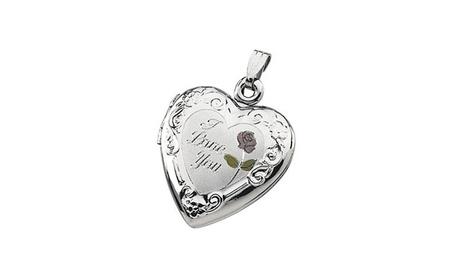 "Sterling Silver Enameled Roses ""I Love You"" Heart Locket 90b232db-5711-4839-b872-fbf09d816978"