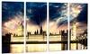 Parliament at River Thames Cityscape Metal Wall Art 48x28 4 Panels