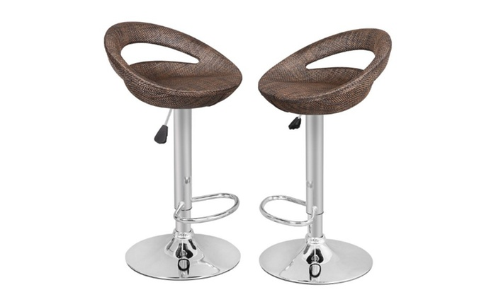 Strange Modern Adjustable Rattan Wicker Swivel Bar Stools Set Of 2 Machost Co Dining Chair Design Ideas Machostcouk