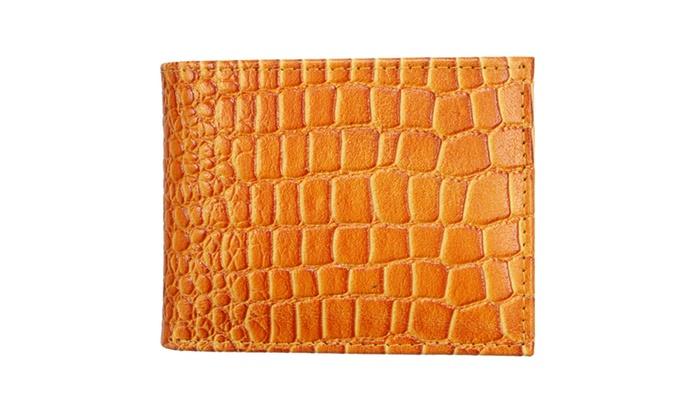 Men's Fashion Crocodile Embossed Wallet WLT-CP48-TAN in Tan