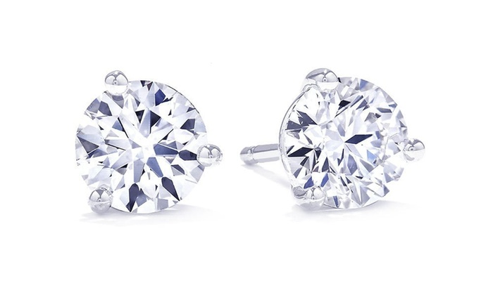 Suzy Levian 3 G Diamond Martini Stud Earrings