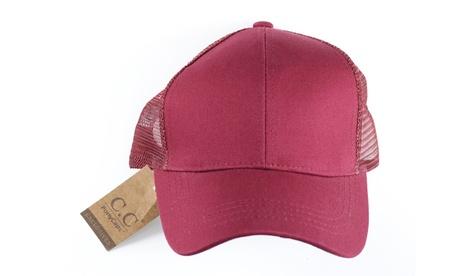CC Ponycap Messy High Bun Ponytail Adjustable Mesh Trucker Baseball CC Cap Hat