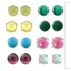 925 Pure Solid Silver Stud 6mm Cabochon Round Natural Color Gemstone