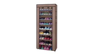 10-Tier Home Nonwoven Vertical Shoe Rack Organizer with Cover  at Wmart, plus 6.0% Cash Back from Ebates.