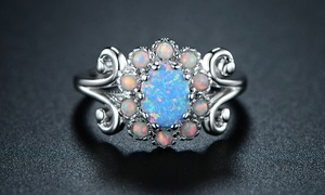 Blue Jelly Opal Filigree Cocktail Ring by Peermont