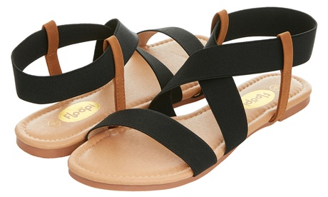 Floopi Womens Open Toe Elastic Ankle Strap Gladiator Flat Sandals 88a6b8db-3994-4283-aa52-2bf008755711