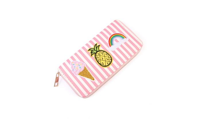 Pink Striped Patch Zipper Wallet