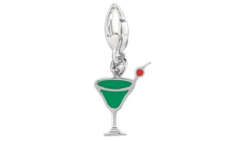 Sterling Silver Women's ENAMEL APPLE MARTINI Clip-on Charm 30f15e77-62a8-4228-893c-012537292bd6