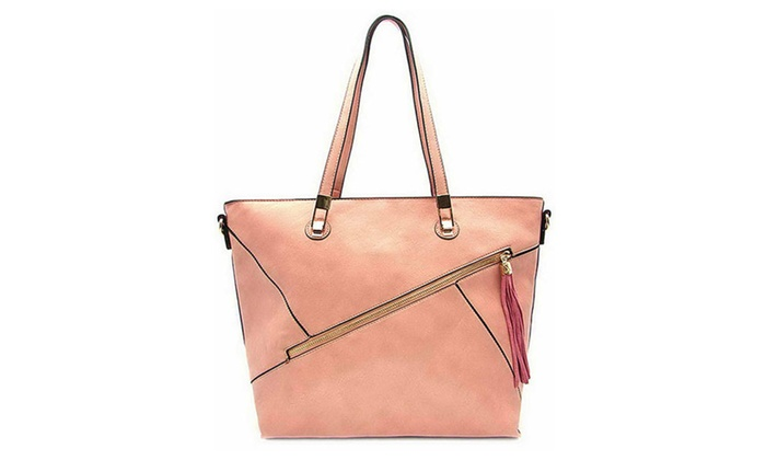 Women's Designer Diagonal Zipper Detail Tote Bag 61691